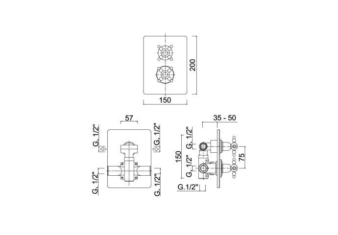 Inbouw Douchekraan Sanimex Giulini Thermostatisch 2-Weg Kruisgreep Rechthoekig Inclusief Inbouwdeel Chroom
