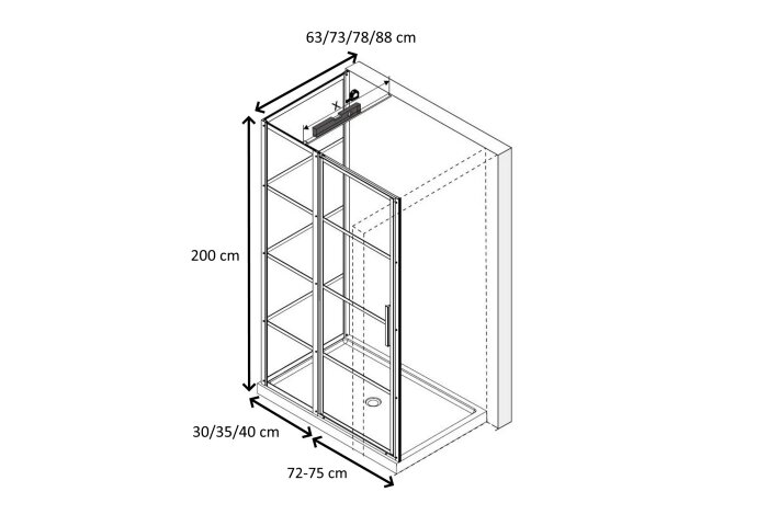 Douchecabine Driedelig Lacus Tremiti 75 6mm Helder Glas Mat Zwart Aluminium Profiel