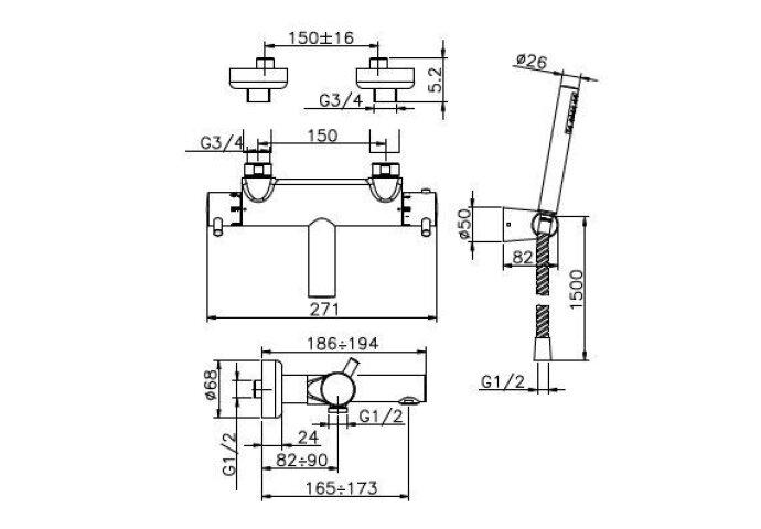 Huber Kiruna Bad/douchethermostaat met douchegarnituur Chroom KR.D23010.21
