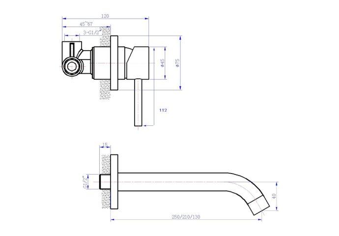 Wastafelkraan Best Design Ore Wand inbouw Uitloop 13cm RVS | Tegeldepot.nl