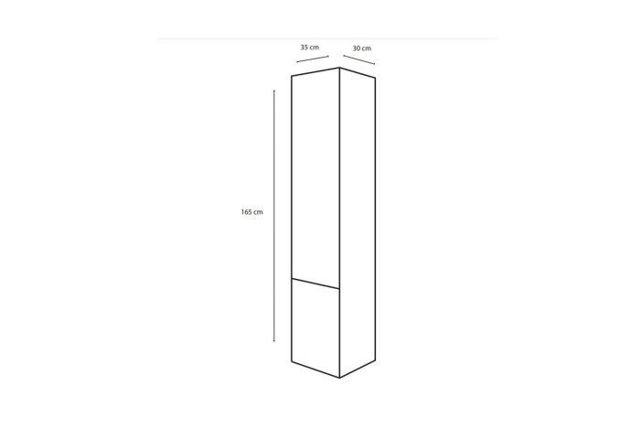 Badkamerkast Differnz Style 33x35x165 cm Bruin Eiken (Rechts)