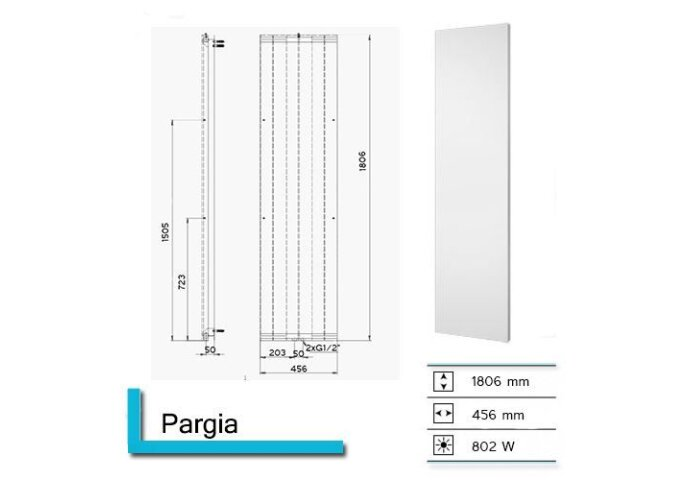 Handdoekradiator Pargia 1806 x 456 mm Aluminium