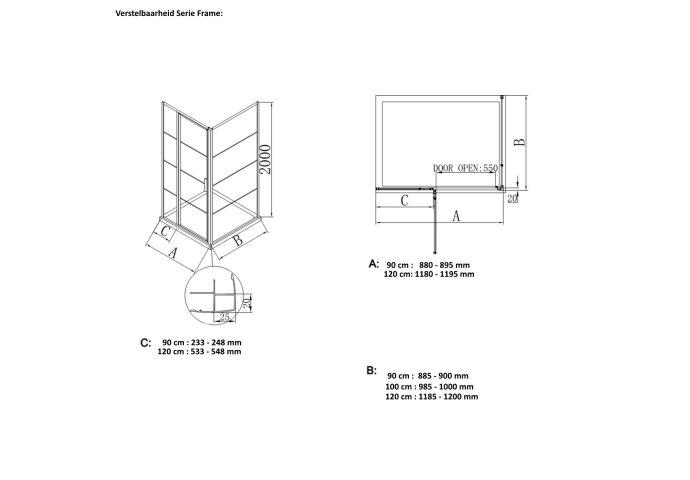 BWS Nisdeur Frame met Vast Paneel 90x200 cm 8 mm NANO Glas Geborsteld Messing Goud