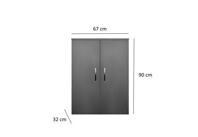 Kolomkast Sanicare Q6/Q14/Q16 2-Deurs Soft-Closing Chromen Greep 90x67x32 cm Antraciet