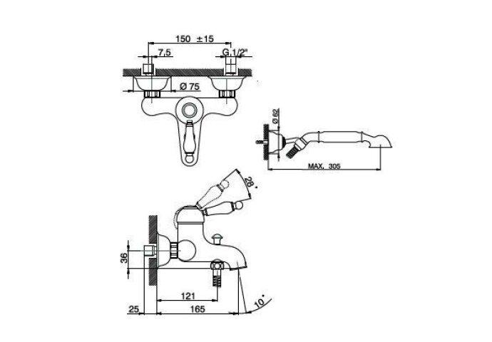 Huber Croisette Badmengkraan met handdoucheset Chroom/Goud CM.000120.74