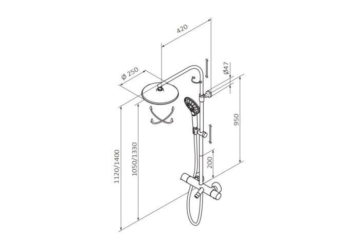 Opbouw Badkraan GRB Time Thermostatisch met Hoofddouche 25 cm en Handdouche Set Messing Chroom