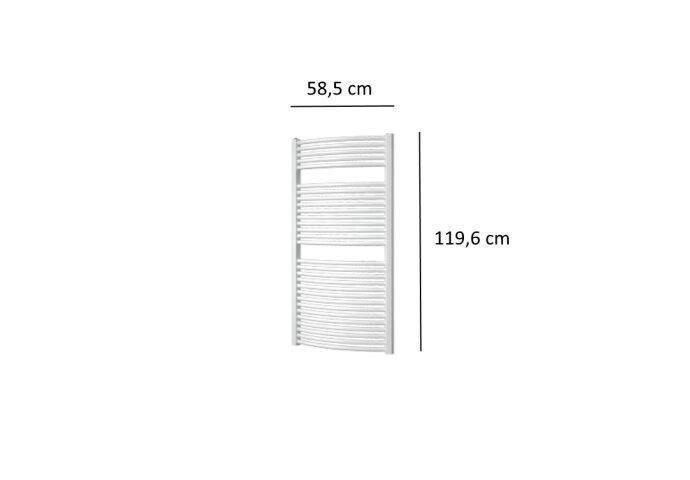 Designradiator Plieger Onda 804 Watt Zijaansluiting 119,6x58,5 cm Wit
