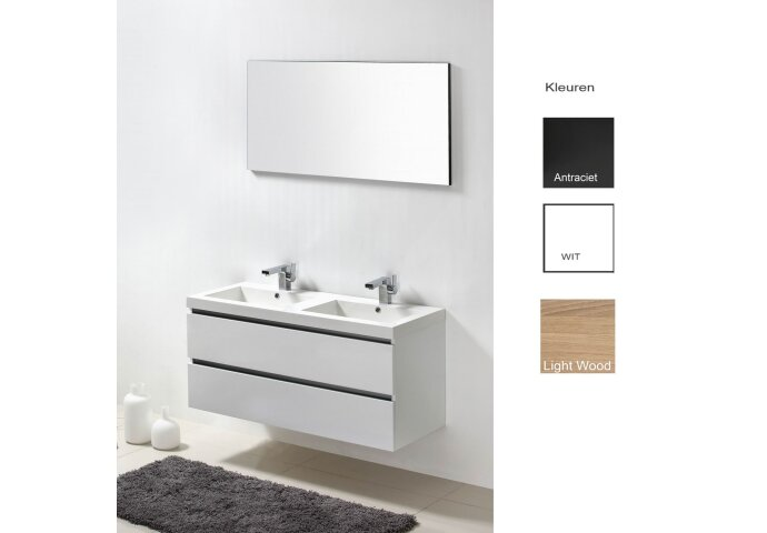 Badkamermeubelset Sanilux Trendline 120x47x50 cm 2 Kraangaten (in drie kleuren verkrijgbaar)