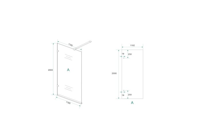 BWS Edge Douchewand Profielloos 120x200 cm 8 mm NANO coating