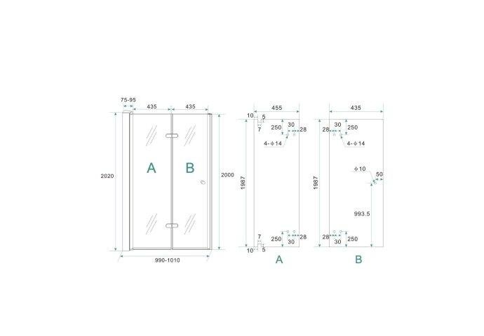 BWS Vouwbare Nisdeur Links 100x202 cm 8mm NANO Harmonica Deur