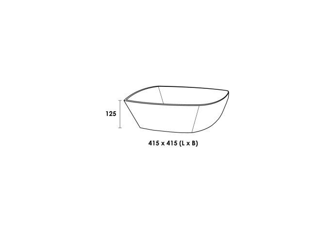 Opbouwwastafel Keramiek Quadra (415x415x125 mm)