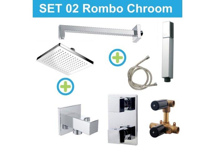Wiesbaden inbouw regendouche set 02 Rombo Chroom