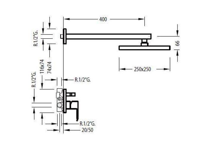 Cuadro Tres Inbouw doucheset met regendouche, glijstang en handdouche 106985