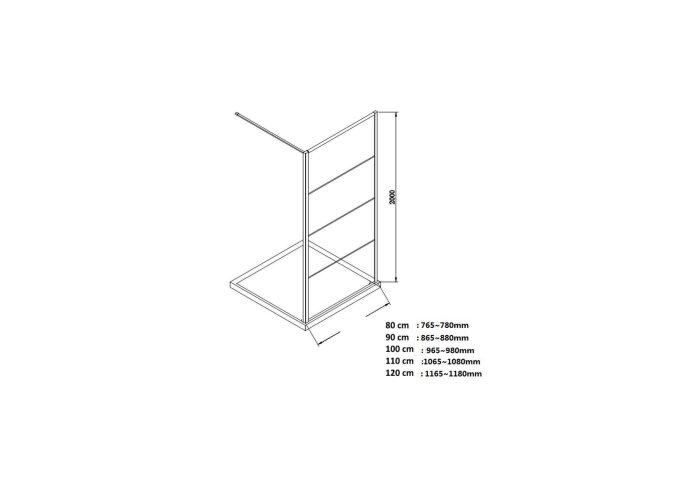 BWS Inloopdouche Frame 45x200 cm 8mm NANO Glas Mat Zwart Raster