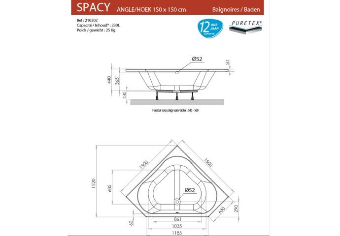 Hoekbad Allibert Spacy 150x150x56 cm Wit