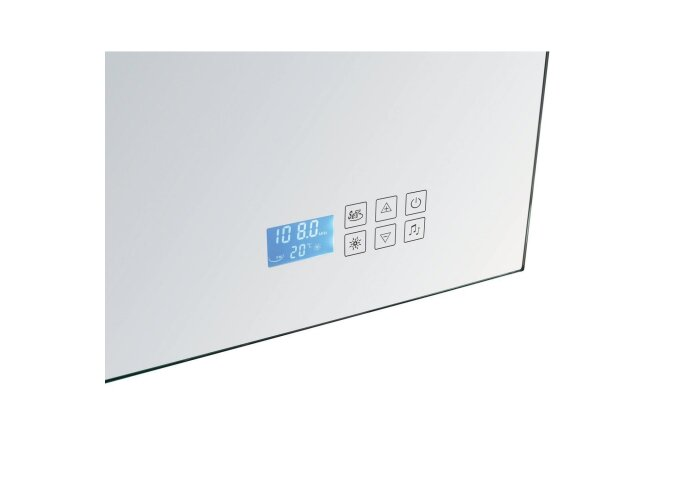 Spiegel Sanilux Mirror Deluxe 58x80x4.5cm Aluminium met TL verlichting + Radio touch sensor