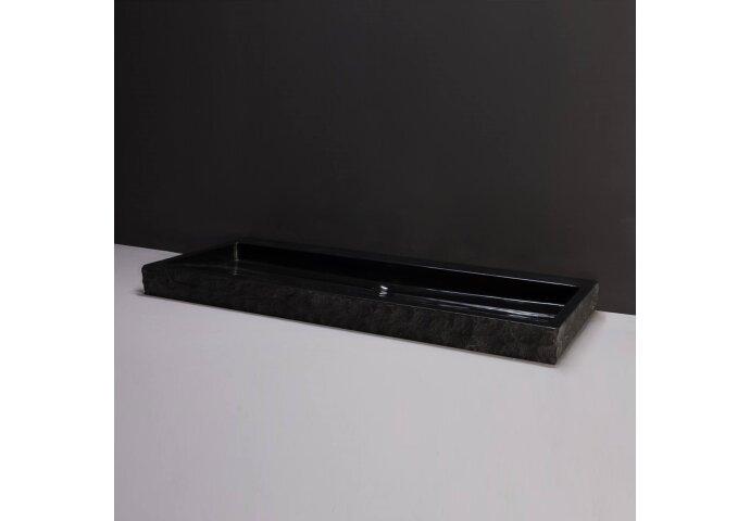 Wastafel Forzalaqua Palermo Graniet Gepolijst Gekapt Met Kraangat Zwart 100,5x51,5x9 cm