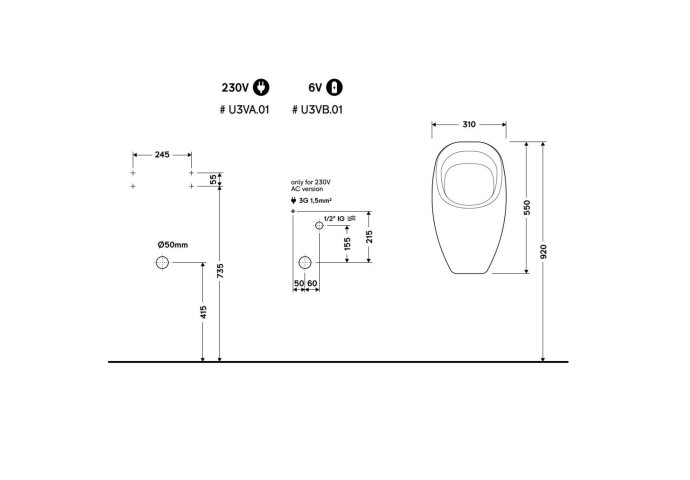 Urinoir Ipee U3 Dome Keramiek Instelbaar Spoelvolume Achterinlaat 55x31x31.5 cm Wit