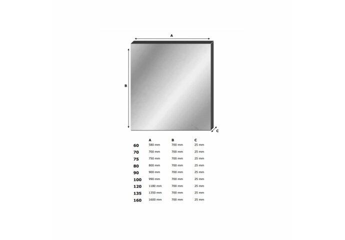 Spiegel Alu 75 (75x70 cm)