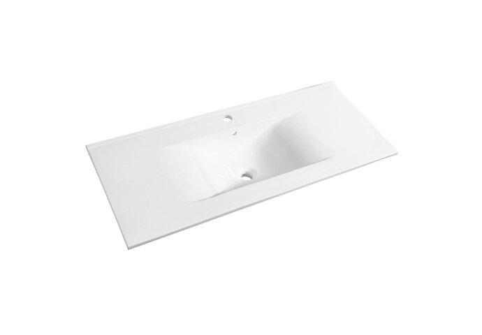 Wastafel Allibert Soft 100,5x46,5x1,7 cm met Kraangat en Overloop Porselein Glanzend Wit