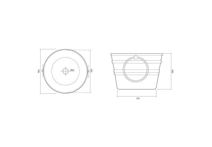 Wastafel Horganica Bacile Opbouw met Handdoek Ringen 46.5x30 cm Keramiek Rood