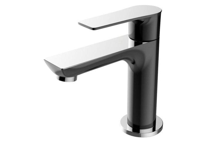 Toiletkraan Larga Zwart Éénhendel Chroom | Tegeldepot.nl