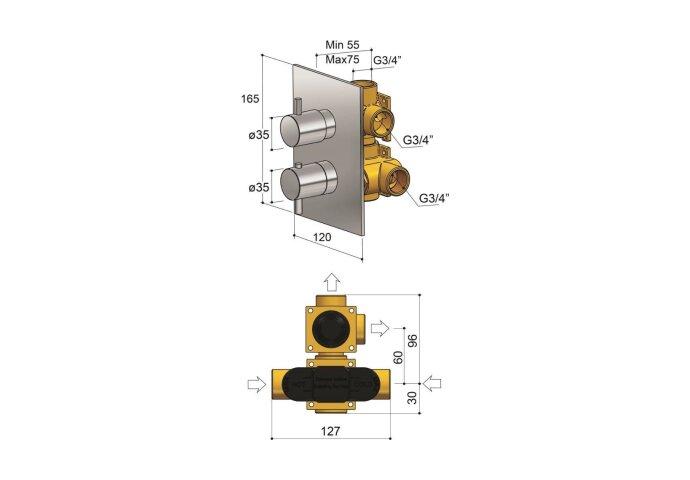 Inbouw Douchekraan Hotbath Laddy Thermostatisch 2-Weg Stop-Omstel Vierkant Chroom