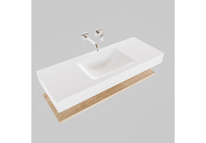Badkamermeubel BWS Ibiza 120 cm met Washed Oak Planchet Solid Surface Wastafel Mat Wit (acht varianten)