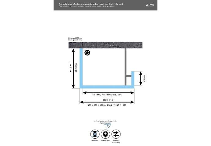 Complete Profielloze Inloopdouche Reversed Met Vaste Zijwand 30cm (Alle Kleuren En Maten)