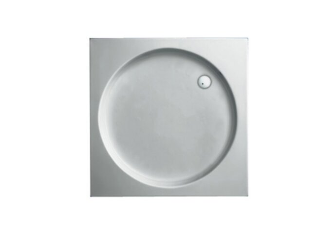 Douchebak Plieger Luxury Kunststof Acryl Vierkant Met Ronde Inzet 80x80x9cm Wit
