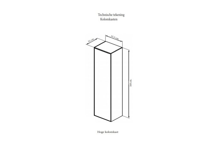 Kolomkast Sanicare Q4/Q15 1 Soft-Closing Deur 160x33,5x32 cm Schots-Eiken