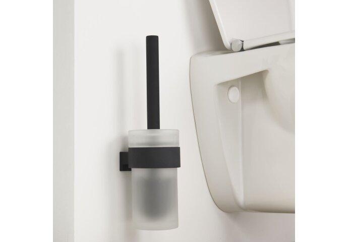 Toiletborstelhouder Tiger Bold Muur Glas/Mat zwart 33.9 cm