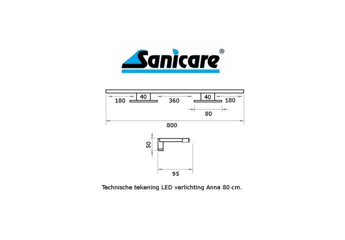 Spiegelverlichting Sanicare LED Anna 80 cm Mat Zwart