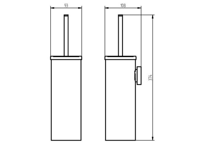 Toiletborstel Haceka Kosmos 38x10 cm Metaal Mat Zwart