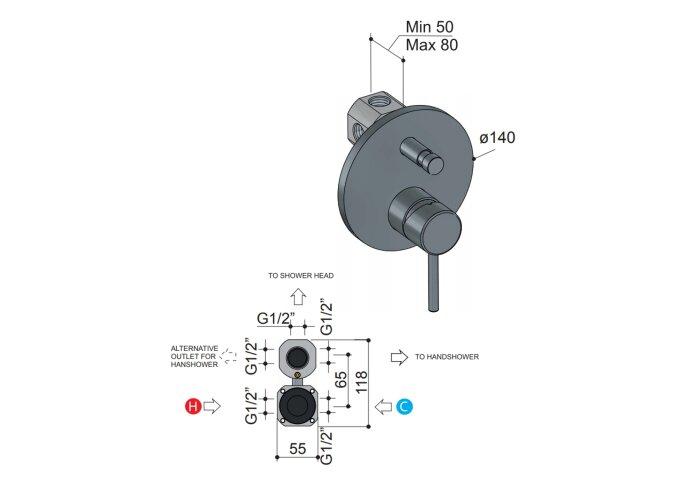 DoucheBadmengkraan Hotbath Buddy Inbouw Omstelrichting Geborsteld Nikkel (incl. inbouwdeel)