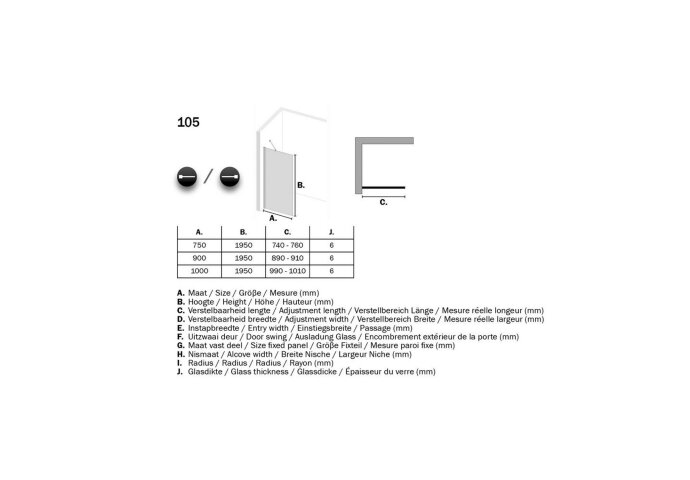 Inloopdouche Sealskin W105 Get Wet Type A3 100x195 cm 6 mm Helder Glas