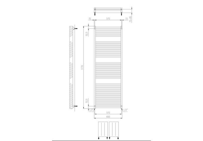 Designradiator Boss & Wessing Ifona 177x60 cm 1359 Watt Met Zijaansluiting Pearl Grey