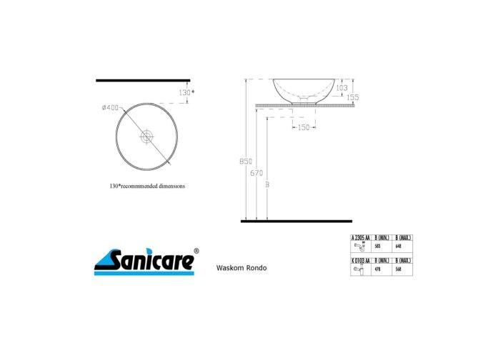 Badkamermeubelset Sanicare Q11 2 Laden 65cm Schots-Eiken (spiegel optioneel)