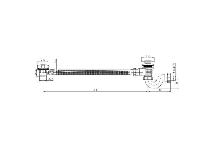 Badplug-overloopcombinatie + waste chroom Boss & Wessing badplugafvoer