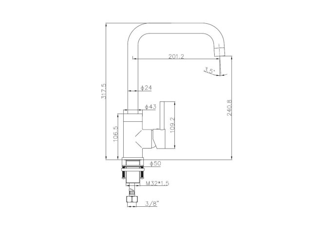 Keukenmengkraan Best Design Lyon Uitloop Gebogen 31.7 cm 1-hendel Mat Rose Goud