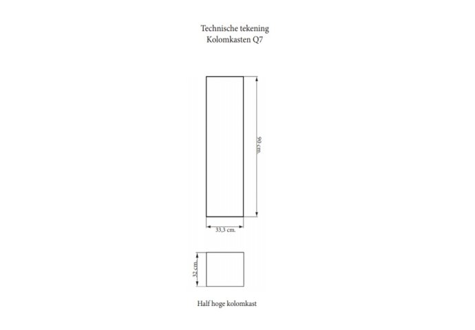 Kolomkast Sanicare Q4/Q15 1 Soft-Closing Deur 90x33,5x32 cm Grey-Wood