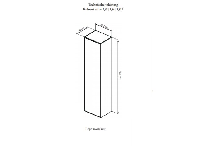 Kolomkast Sanicare Q1/Q12/Q17 Soft-Close Deur Chromen Greep 160x33,5x32 cm Antraciet