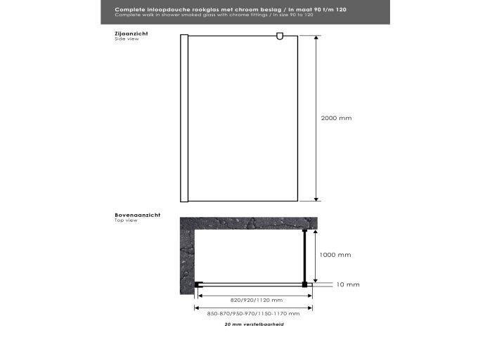 Inloopdouche Sanitop Smoke Rookglas 90x200 cm Chroom 10mm Taylor Protect