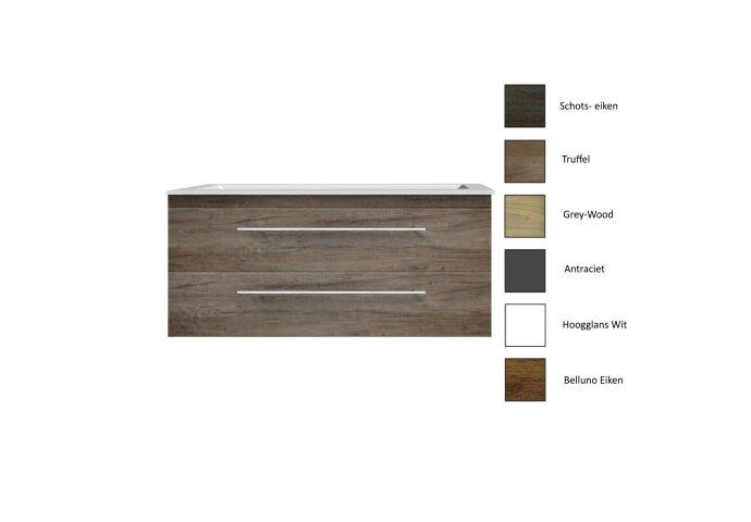 Badkamermeubelset Sanicare Q4 Twee Soft-Close Laden 100x45 cm Grey-Wood (0, 1 of 2 Kraangaten)