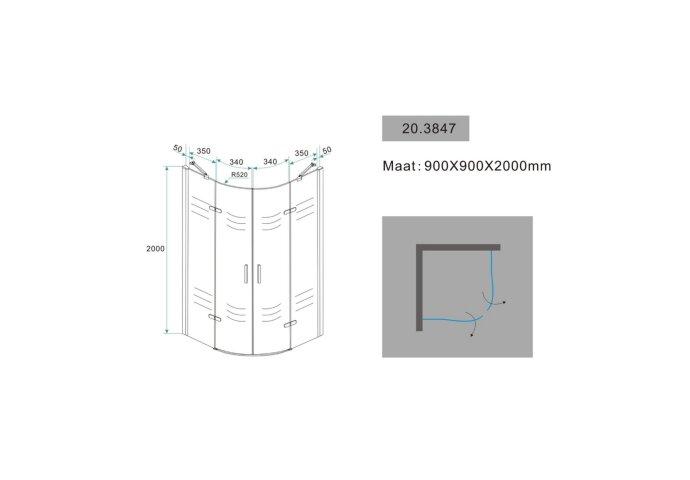 Douchecabine Wiesbaden kwartrond 2 deuren 90x90cm 8mm NANO coating
