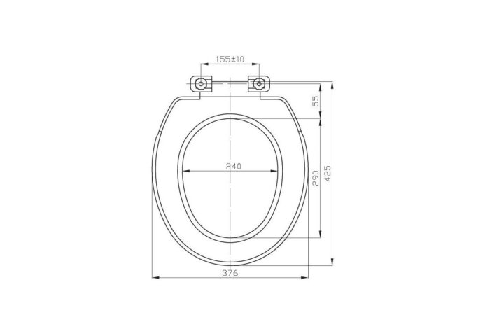 Toiletzitting Sapho Regina Universeel Polypropyleen 37.6x42.5 cm Wit