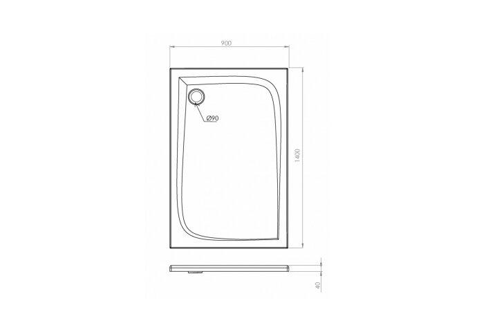 Douchebak Allibert Jacana Vierkant 140x90x4 cm Rechthoekig Bioplax Hoogglans Wit