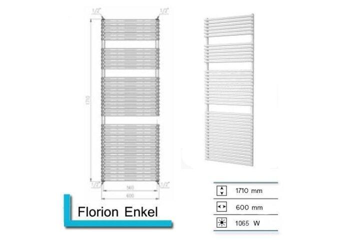 Handdoekradiator Florion Enkel 1710 x 600 mm Donker grijs structuur