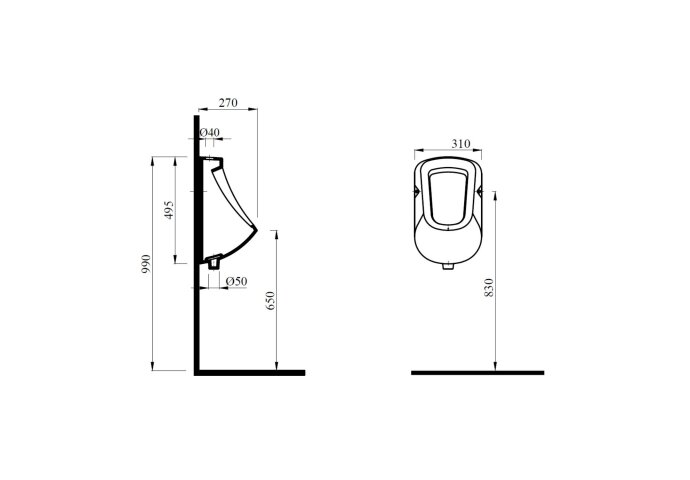 Urinoir Sapho Kruno 49.5x31 cm Boveninlaat en Onderafvoer Keramiek Wit
