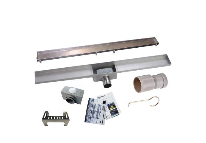 RVS Douchegoot BASIC met uitneembaar sifon 80x7cm 6,7cm diep TEGEL ROOSTER BWTP/DR80PSTEGEL